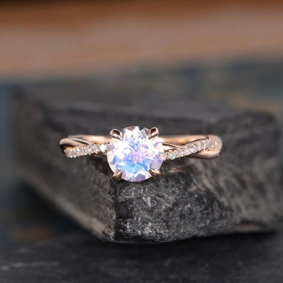 Infinity Moonstone Engagement Ring Rose Gold Twist Solitaire Diamond Half Eternity Ring Bridal Women Promise Anniversary June Birthstone