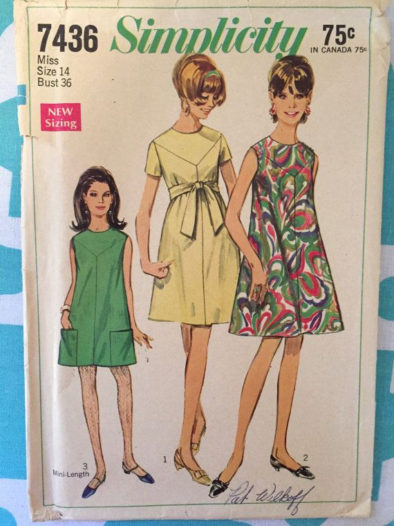 Vintage 1960s Simplicity 7436 Size 14 Bust 36 Nc Vintage Pattern 60s Dress Swing Dress Pattern Toddler Sewing Patterns Pattern Fashion Vintage Outfits