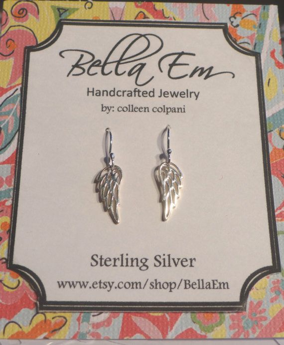 Small Sterling Silver Angle Earrings -Angel Earrings -Angel -Wings