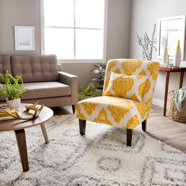 Anna Yellow Ikat Accent Chair