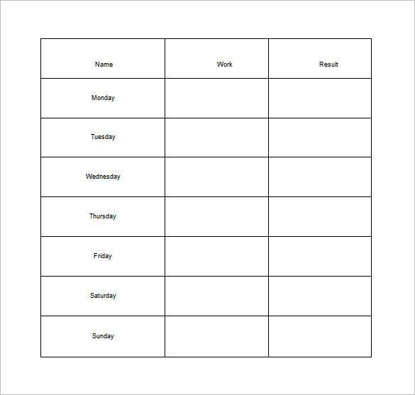Weekly Chore Chart for Adults Free Word Template , How to Make - project contact list template