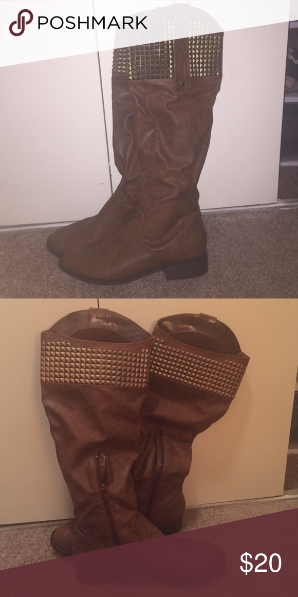 Brown Studded Boots Only worn a few times, brown boots, small heel. The studs are a dark gold color. Size 9 Shoes Heeled Boots