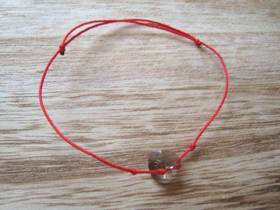 Red string bracelet Swarovski heart bracelet Crystal by BiancasArt