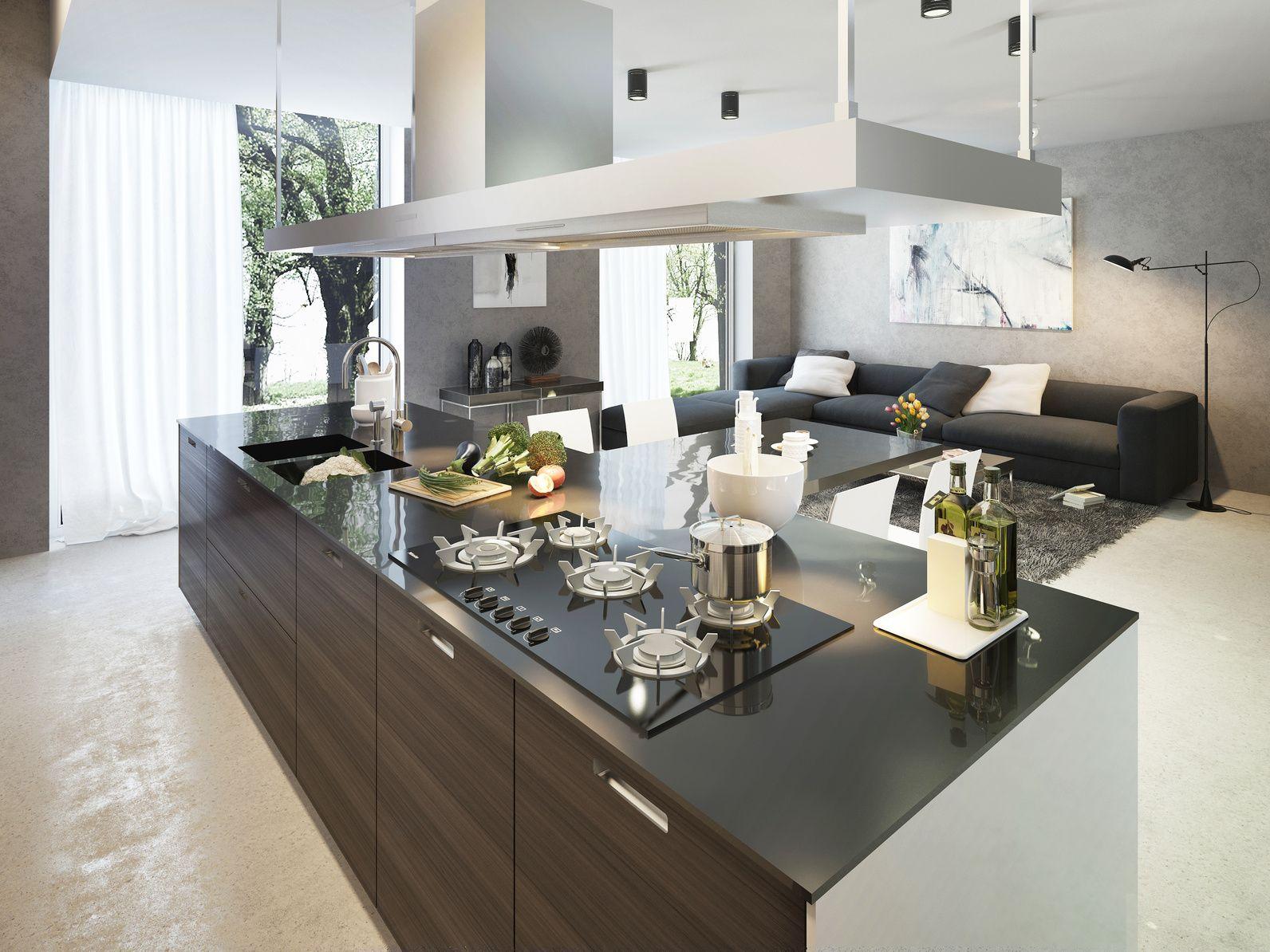 Offene Wohnküchen moderne offene wohnküche mit kücheninsel offene wohnküchen