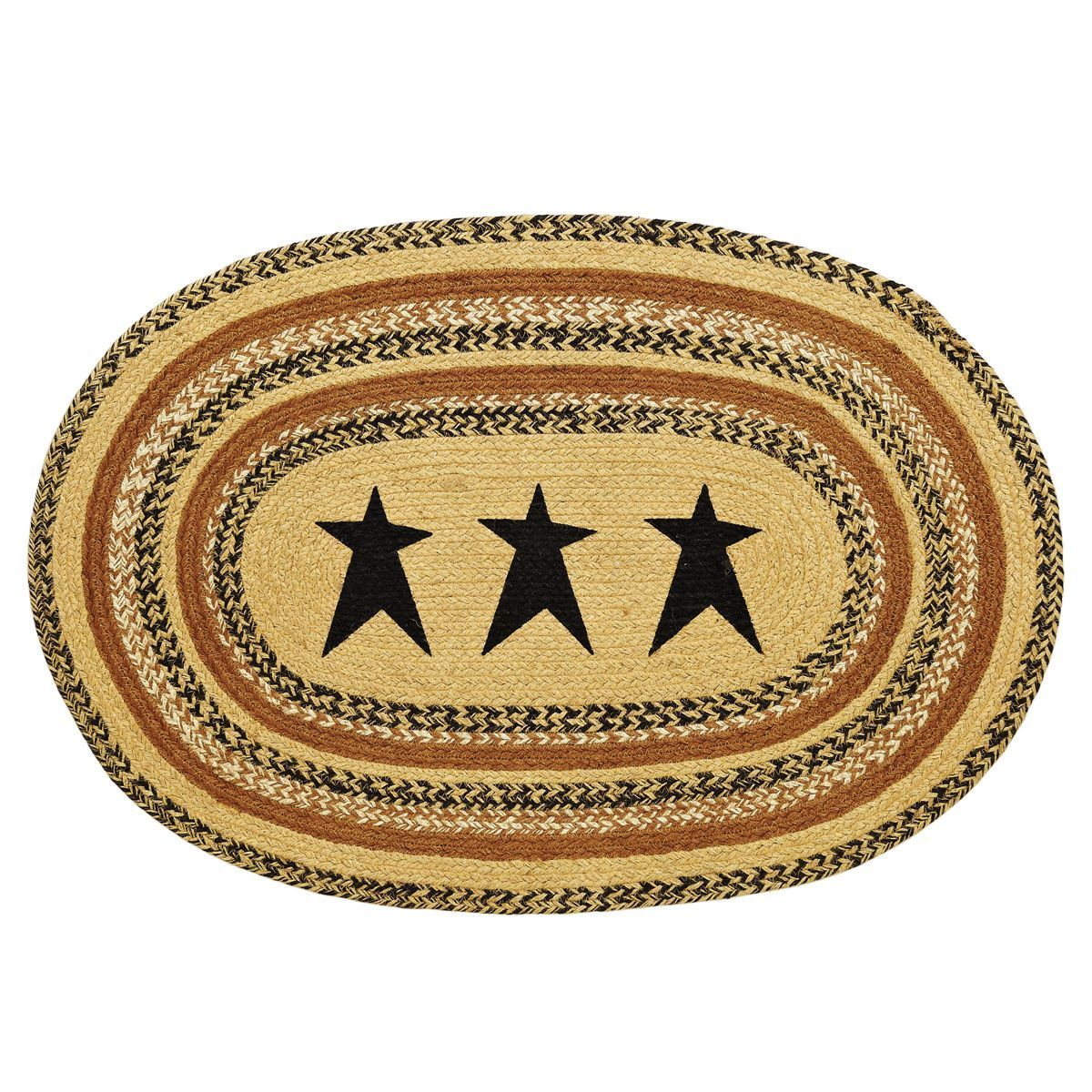 Kettle Grove - Stencil Black Stars - Braided Jute - Oval - 24 x 36 - Rug