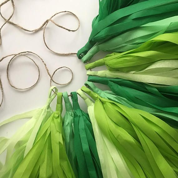 GREEN OMBRE tassel garland caterpillar mexican fiesta luau party supplies boy first birthday photo prop backdrop lime kelly apple high chair