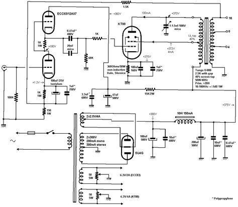 Jean Hiraga 12ax7 Ecc83 Singleended Kt88 Tube Amplifier Schematic
