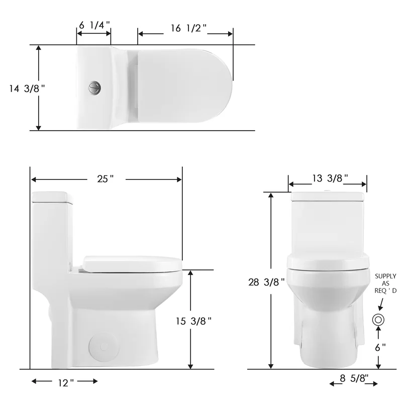 Dual Flush Elongated One Piece Toilet Seat Included One Piece