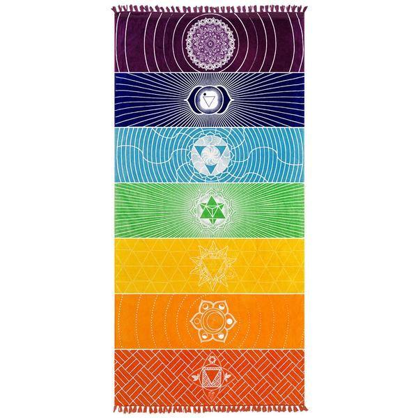 Yoga Towel Chakra: Vagabond Chakra Towel On A White Background