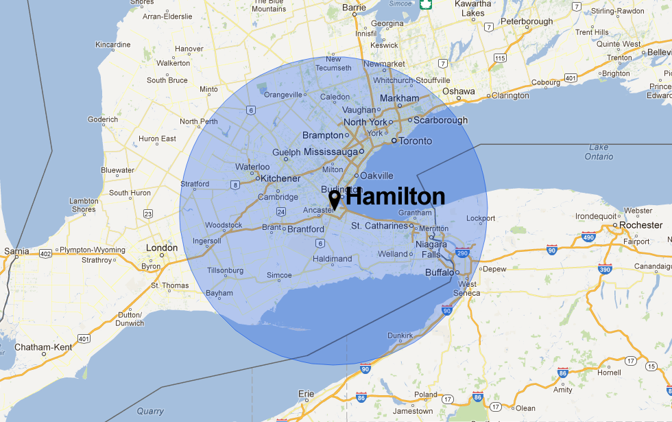 Hamilton Canada Map Of Hamilton Ontario Canada With 100 Km 60