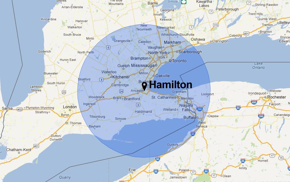 Sixty Mile Canada Map hamilton canada | Map of Hamilton, Ontario, Canada with 100 km (60