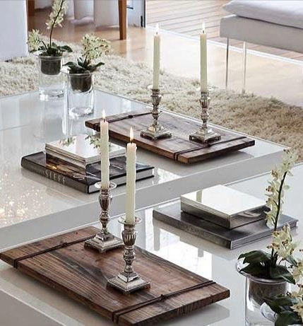 P Styling With Wooden Trays Antique Silver Candle Holders On White Lacquer Coffee Tables