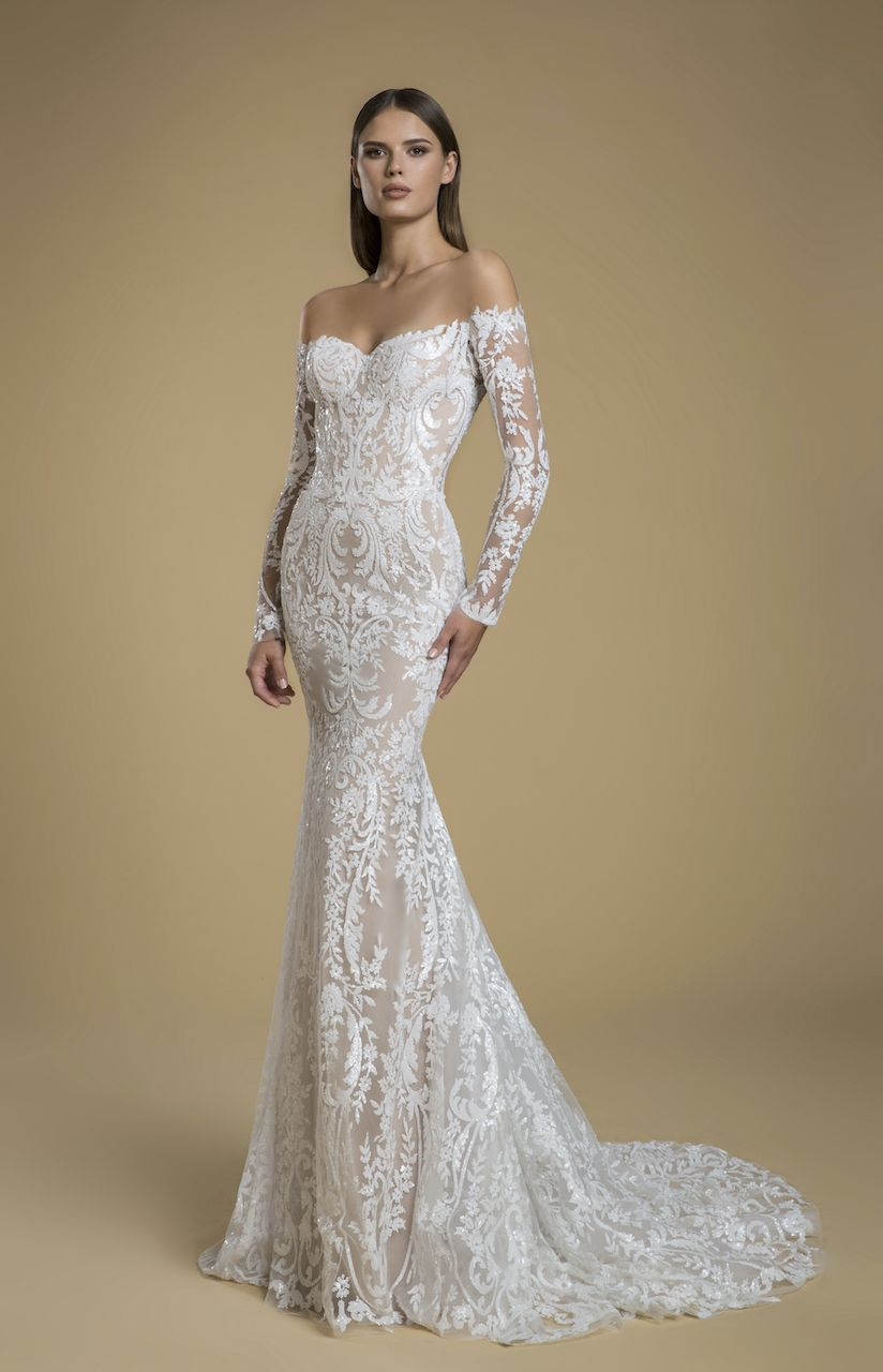 Alencon Lace Meets Flounced Tulle And Organza Wedding Dress Designed By Madeline Gardner Co Bridal Wedding Dresses Wedding Dresses Fit And Flare Wedding Dress [ 2620 x 1834 Pixel ]