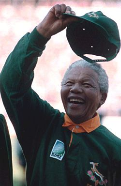Former South African president Nelson Mandela wearing the Springbok jersey