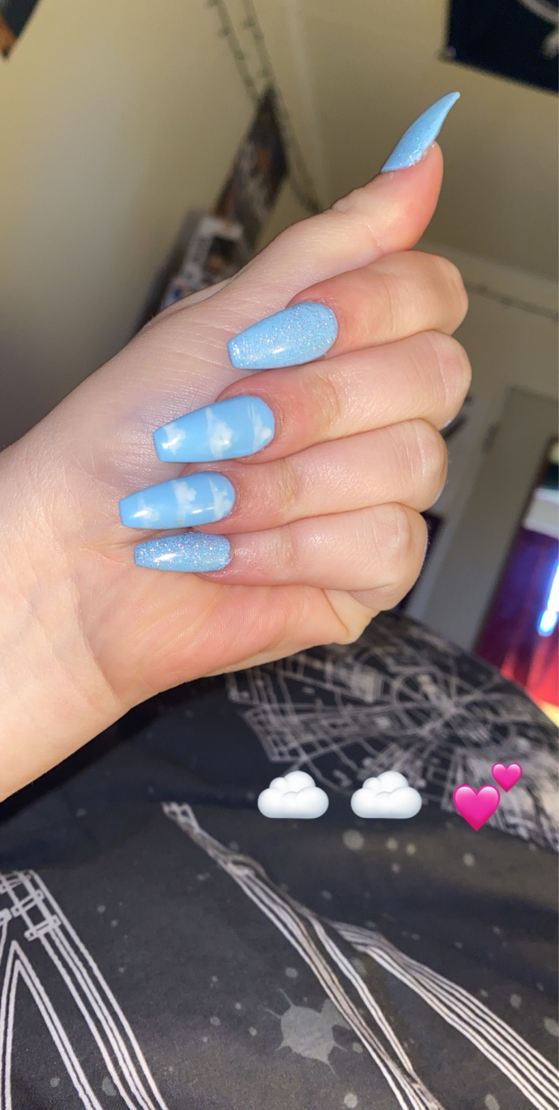 Cloud Nail Art In 2020 Blue Acrylic Nails Short Acrylic Nails Designs Pink Acrylic Nails