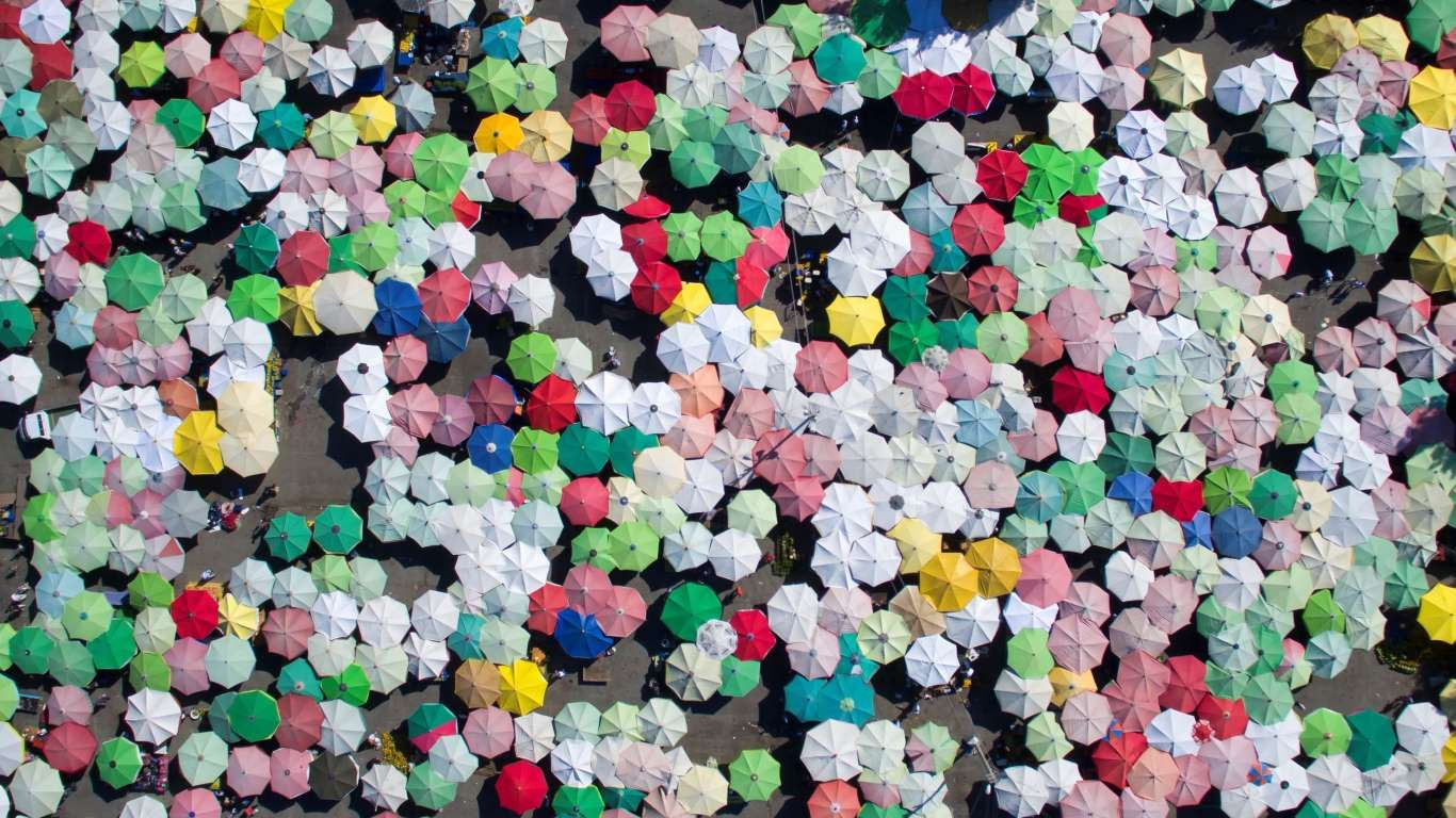 Hundreds of umbrellas at the bazaar.