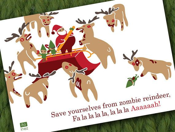 Zombie Reindeer Christmas Card Scary Christmas Christmas
