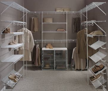 White Wire Walk In Closets Upper And Lower Hanging Sections Pull Out Baskets Shoe Shelves Wrap Around Corners