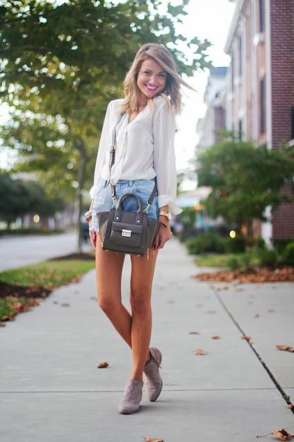 1004ed1c8fc7 Little Blonde Book in the Sam Edelman Petty booties in Black Shorts Jeans