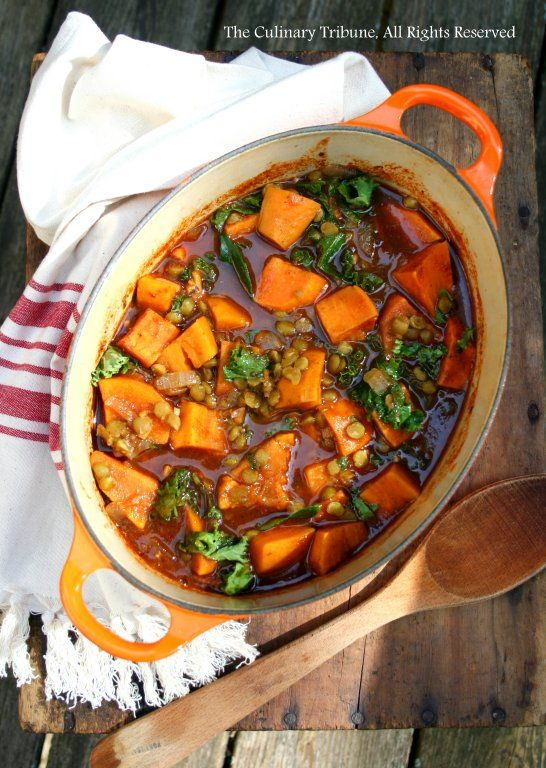 Curry Leaf Soup with Sweet Potato, Lentils, and Kale – Vegan