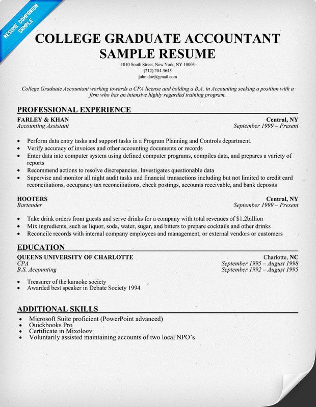Accounting Resume Template College Graduate Accountant Resume Sample  Resume Samples Across