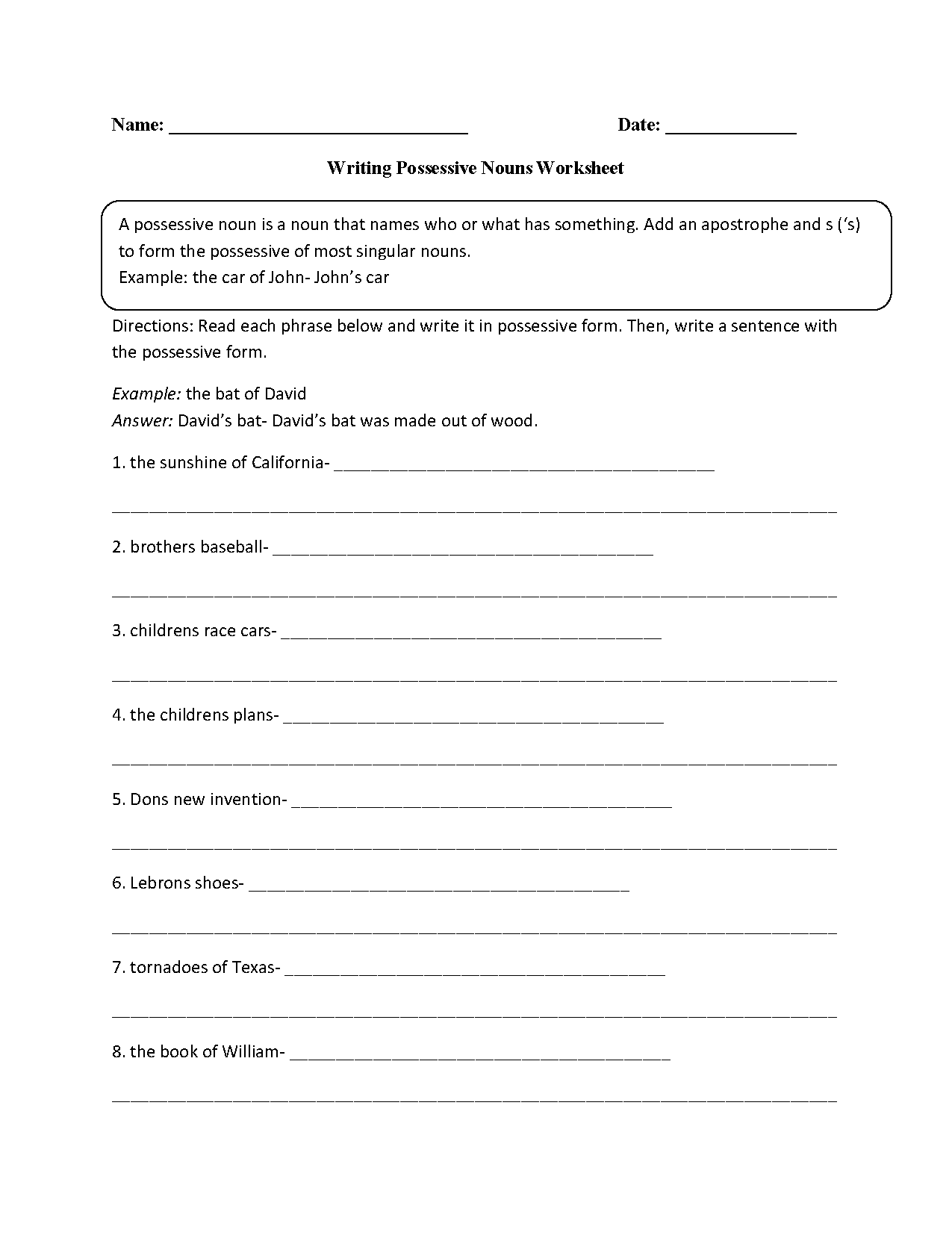 Writing with Possessive Nouns Worksheet Hmw – Singular Possessive Nouns Worksheets