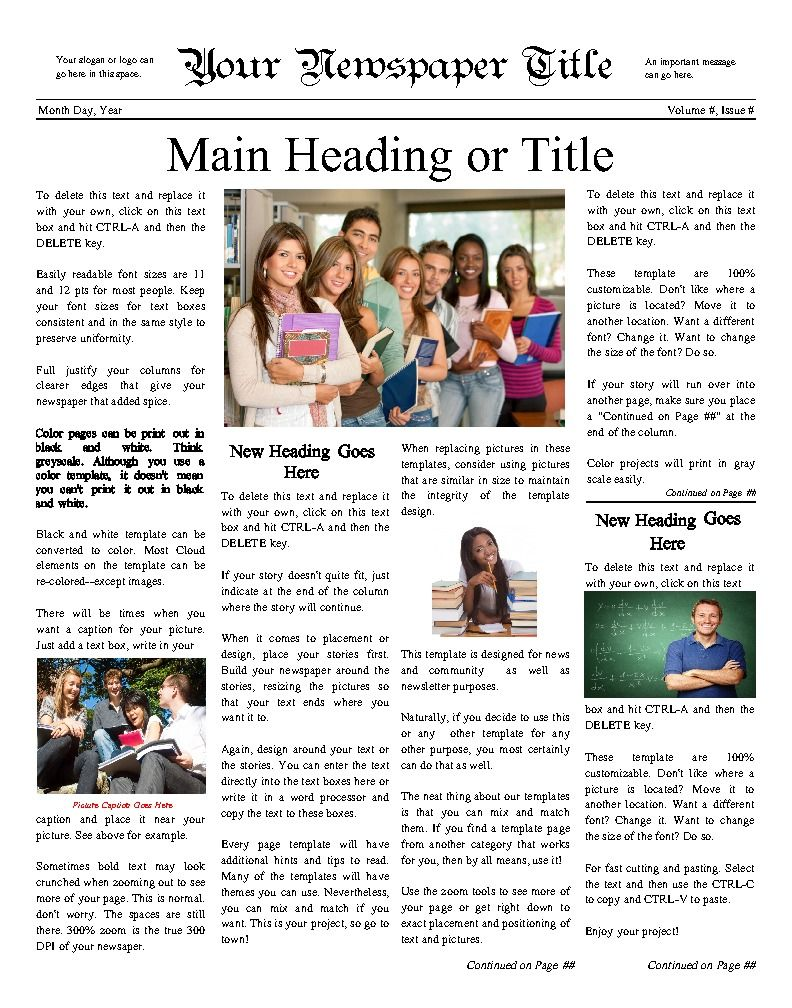 classic newsy front page for any school try this 11 x14 newspaper