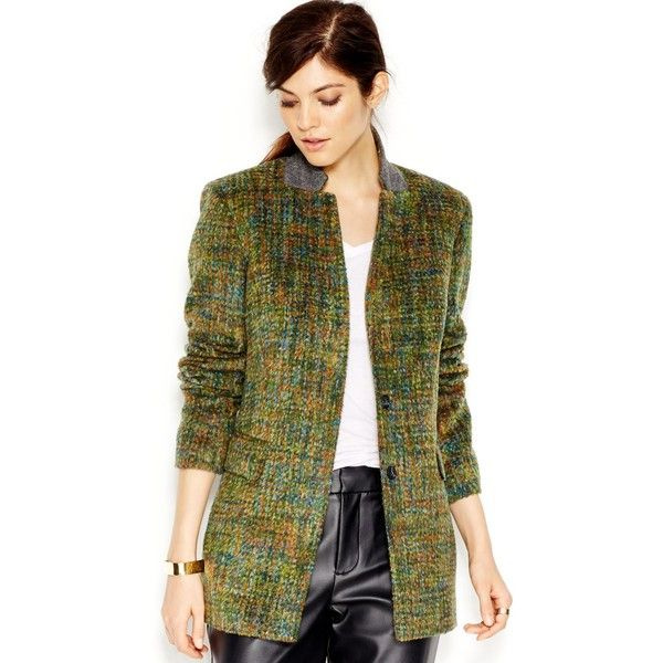 Rachel Rachel Roy Long-Sleeve Brushed Blazer (52.275 HUF) ❤ liked on Polyvore featuring outerwear, jackets, blazers, multi combo, long sleeve blazer, long sleeve jacket, green jacket, rachel rachel roy and collar jacket