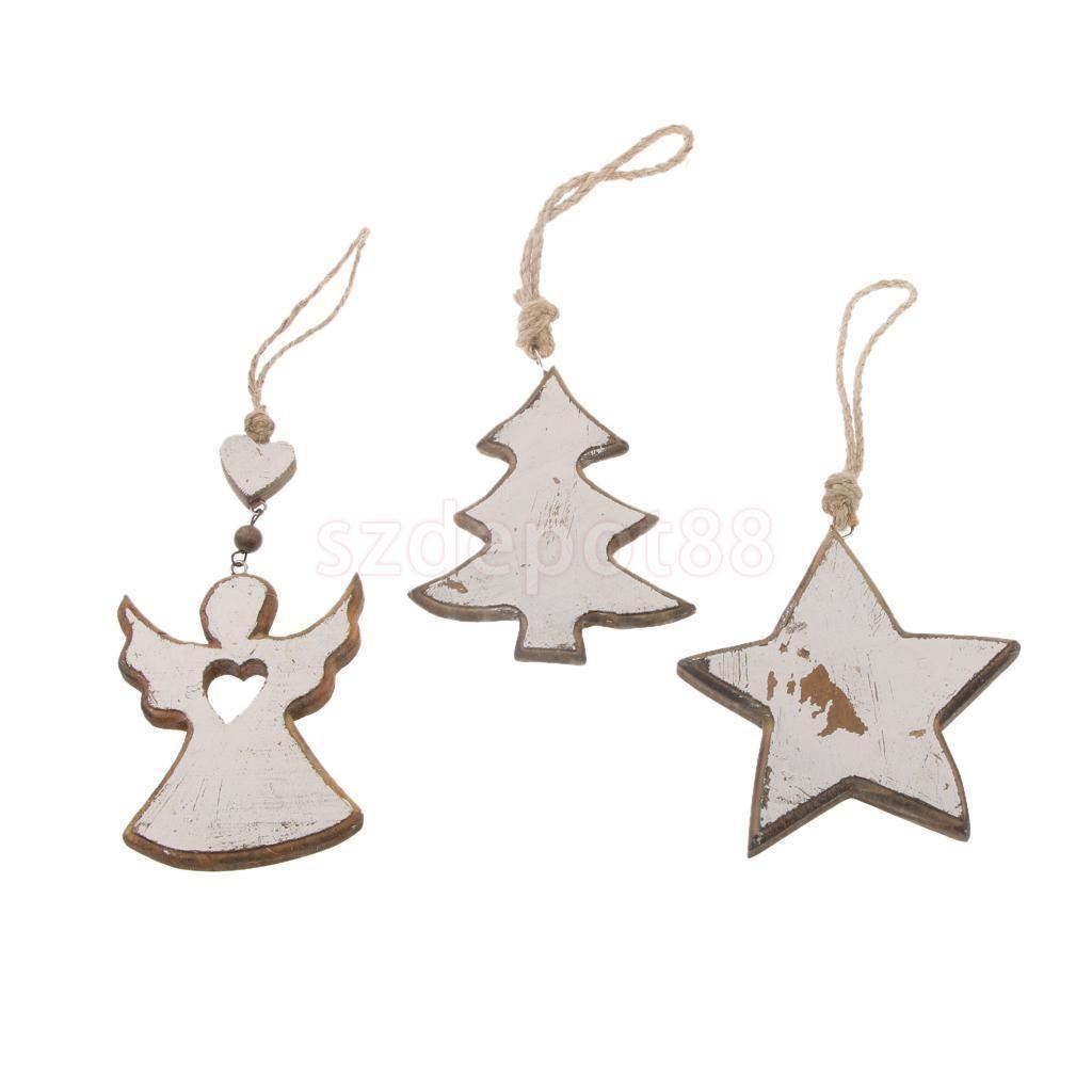 Pcs mdf christmas angel star wooden xmas tree hangers craft vintage