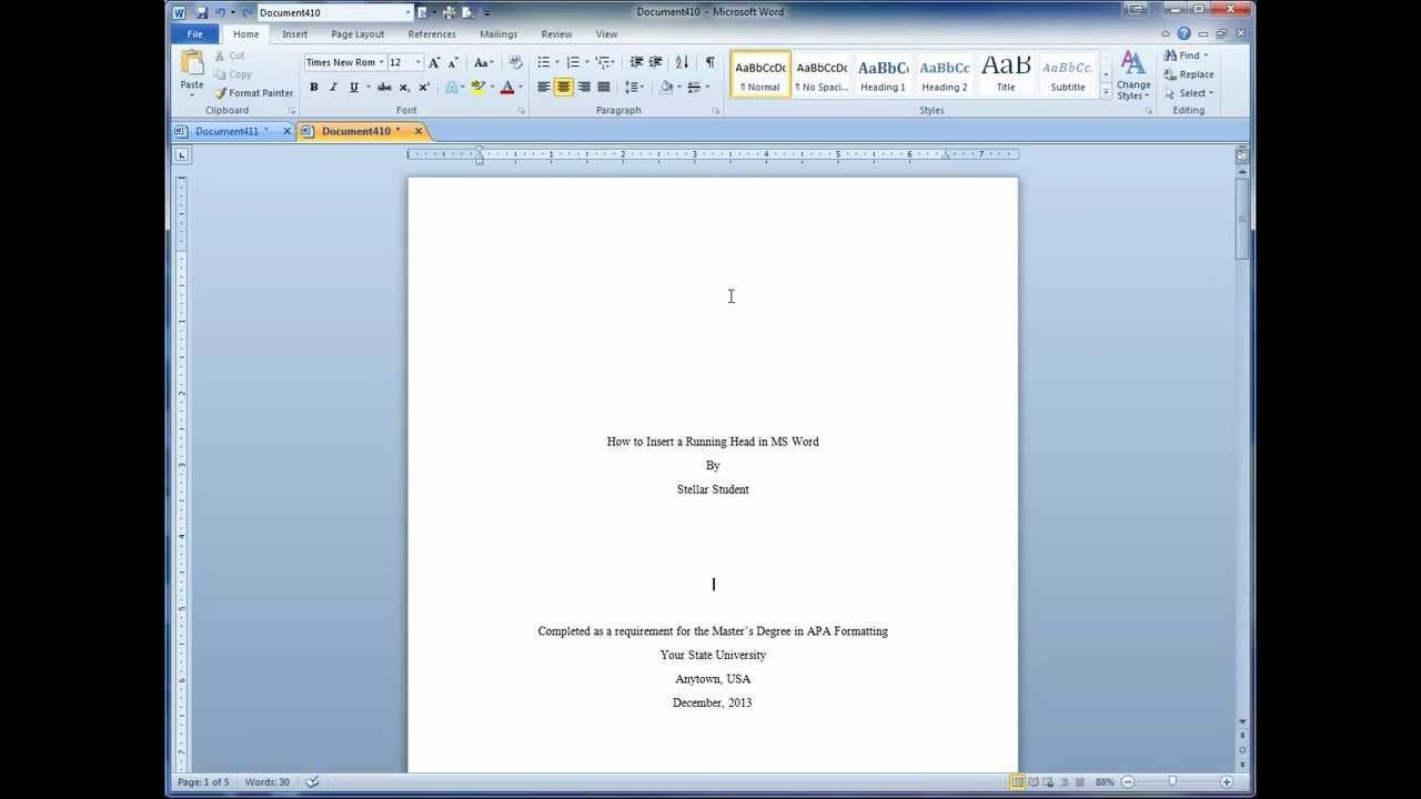 Excellent Video That Shows How To Easily Add A Running Header To Your Paper S Title Page And A Different Header On Remaining Pages H Apa Style Apa Title Page