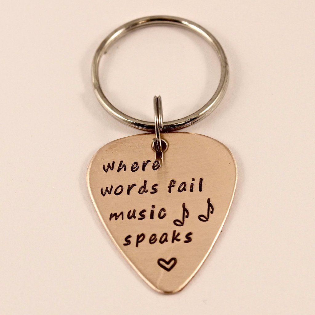 When Words Fail Music Speaks Guitar Pick Keychain