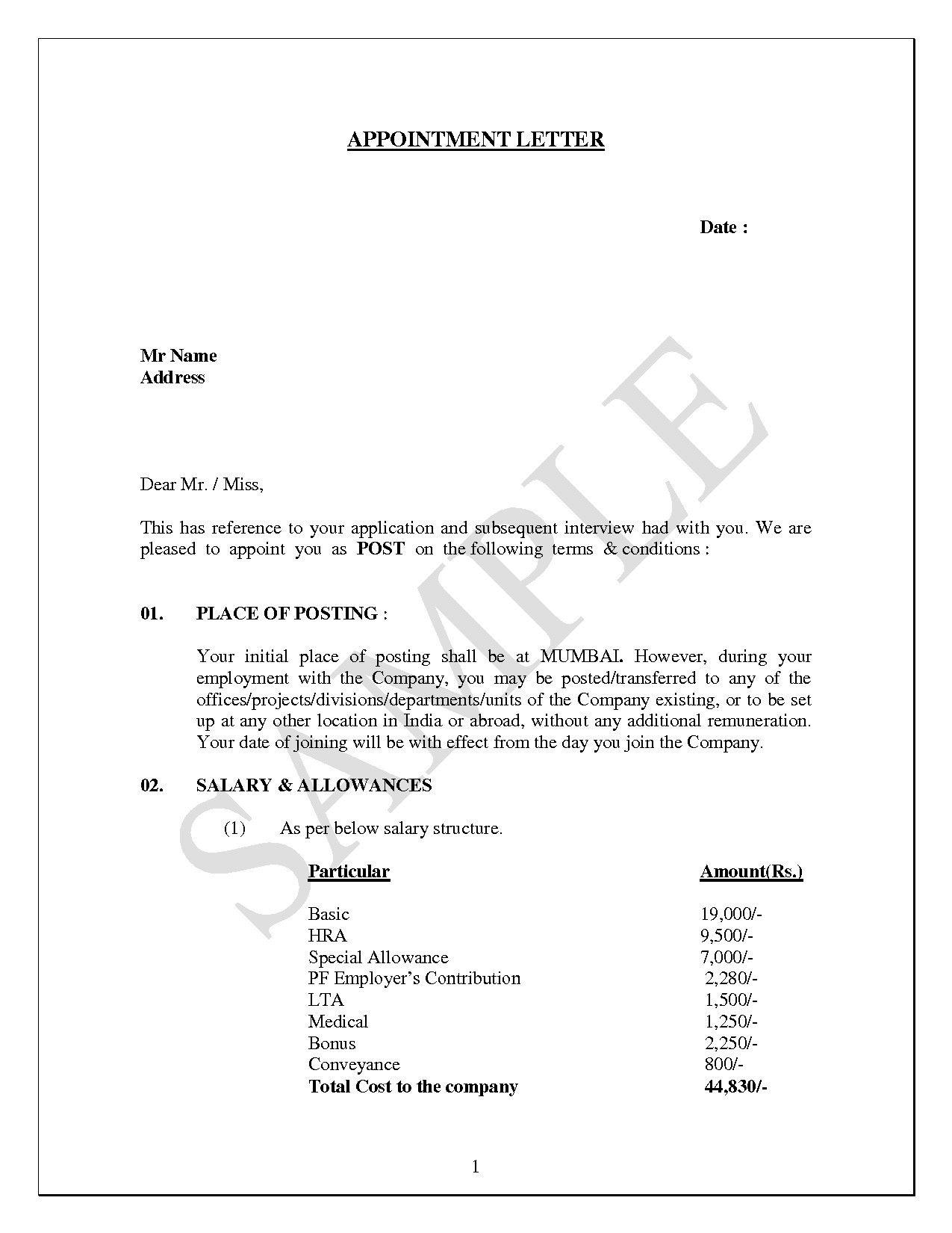 board of directors offer letter
