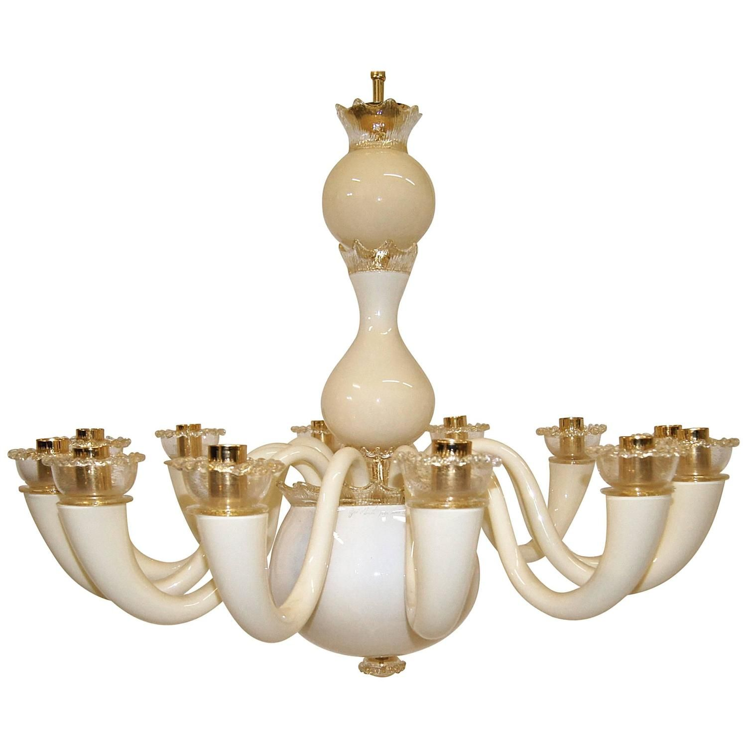 Gio ponti 12 arm ivory and gold plated chandelier chandeliers gio ponti 12 arm ivory and gold plated chandelier aloadofball Image collections
