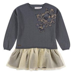 Vestido para niña gris con flor y falda de tul de Boboli perfecto para  ocasiones especiales.  modainfantil  modabebe  ropabebé  outfitbebé  Navidad ef7279070c23