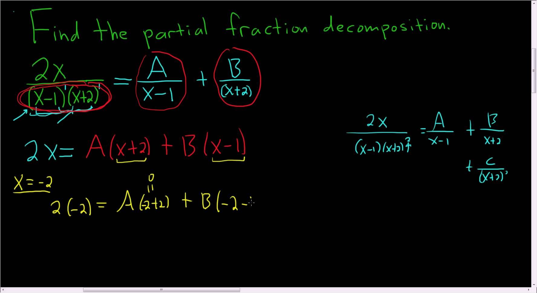 Find the partial fraction 2xx 1x 2