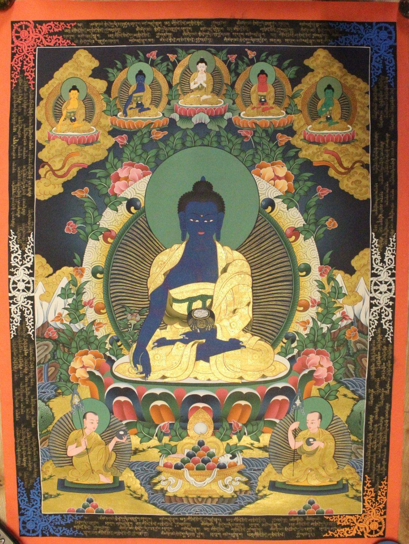 Medicine Buddha Thangka Tibetan Handmade in Nepal(PLT023) by ShakyaHandicraft on Etsy