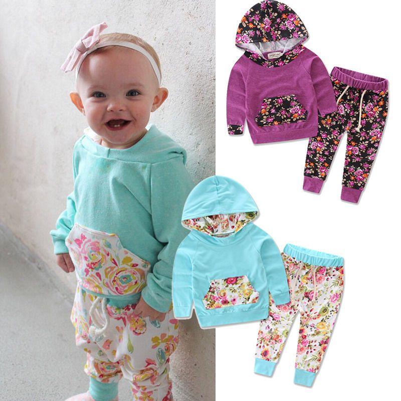 Bebek floreale Neonate Vestiti 0-24 M Neonato Manica Lunga Felpa Con Cappuccio Pantaloni 2 pz Outfit Infantile Per Bambini Insieme dei vestiti