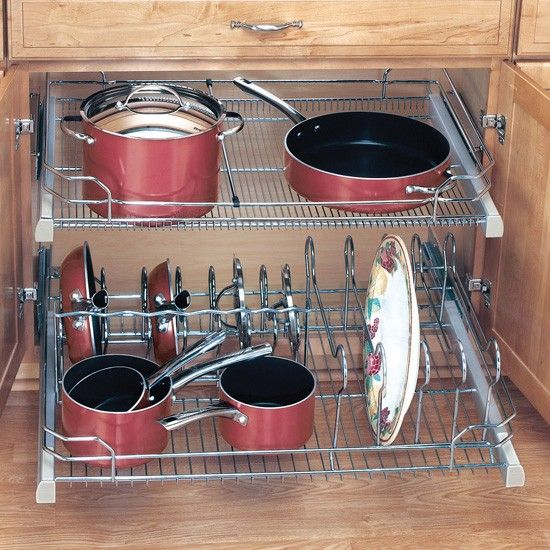 Cookware Organizer For 36 Base Cabinets For Under The Gas Cooktop Kitchen Cabinet Organization Cookware Organization Cabinets Organization