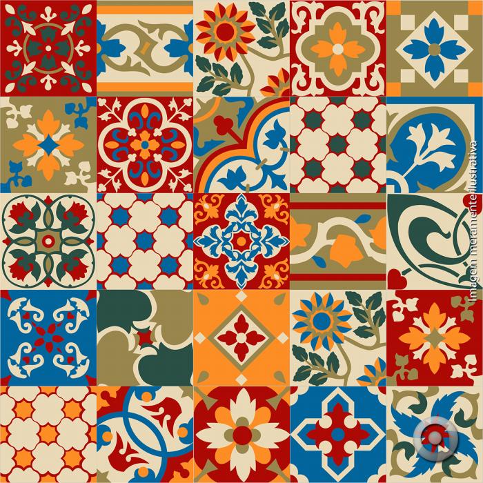 Adesivo de azulejo hidraulico 03 15x15 adesivos for Azulejo 15x15