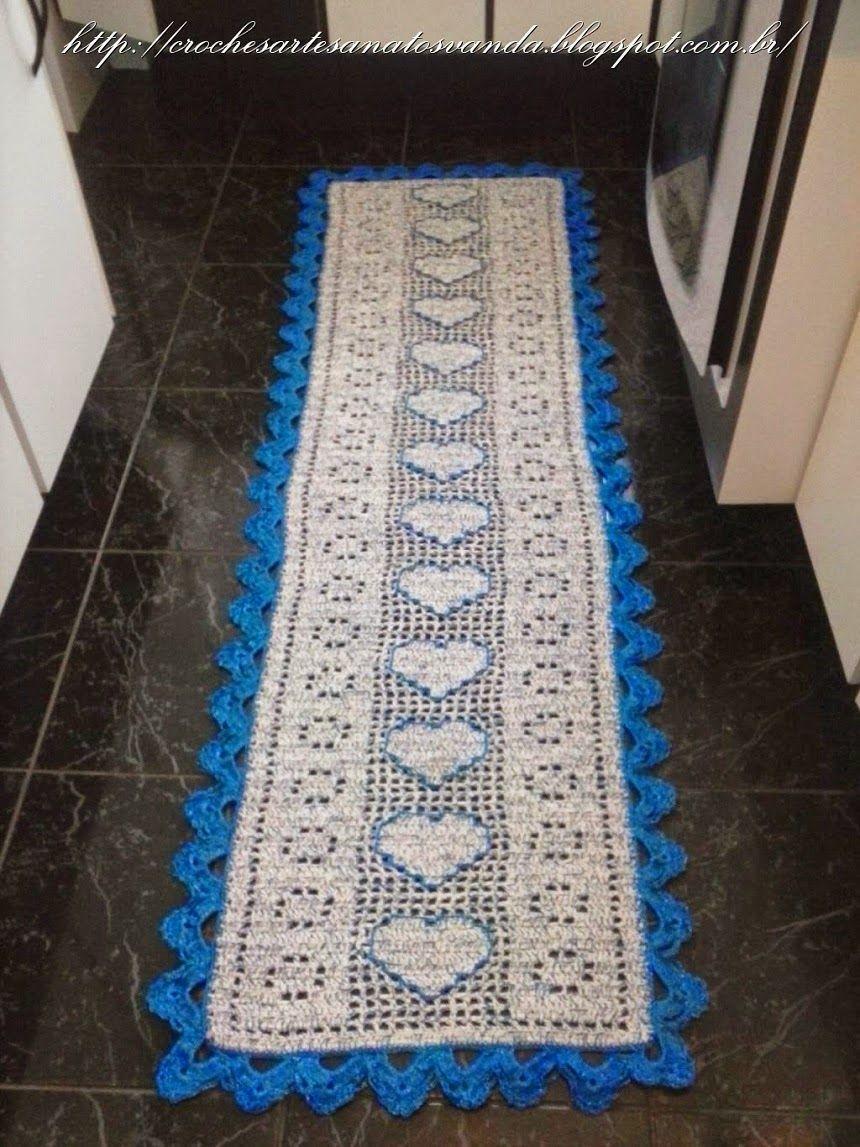 Artesanatos Em Croch Jogos De Tapetes Para Cozinha Quarto  -> Tapetes De Croche Para Sala