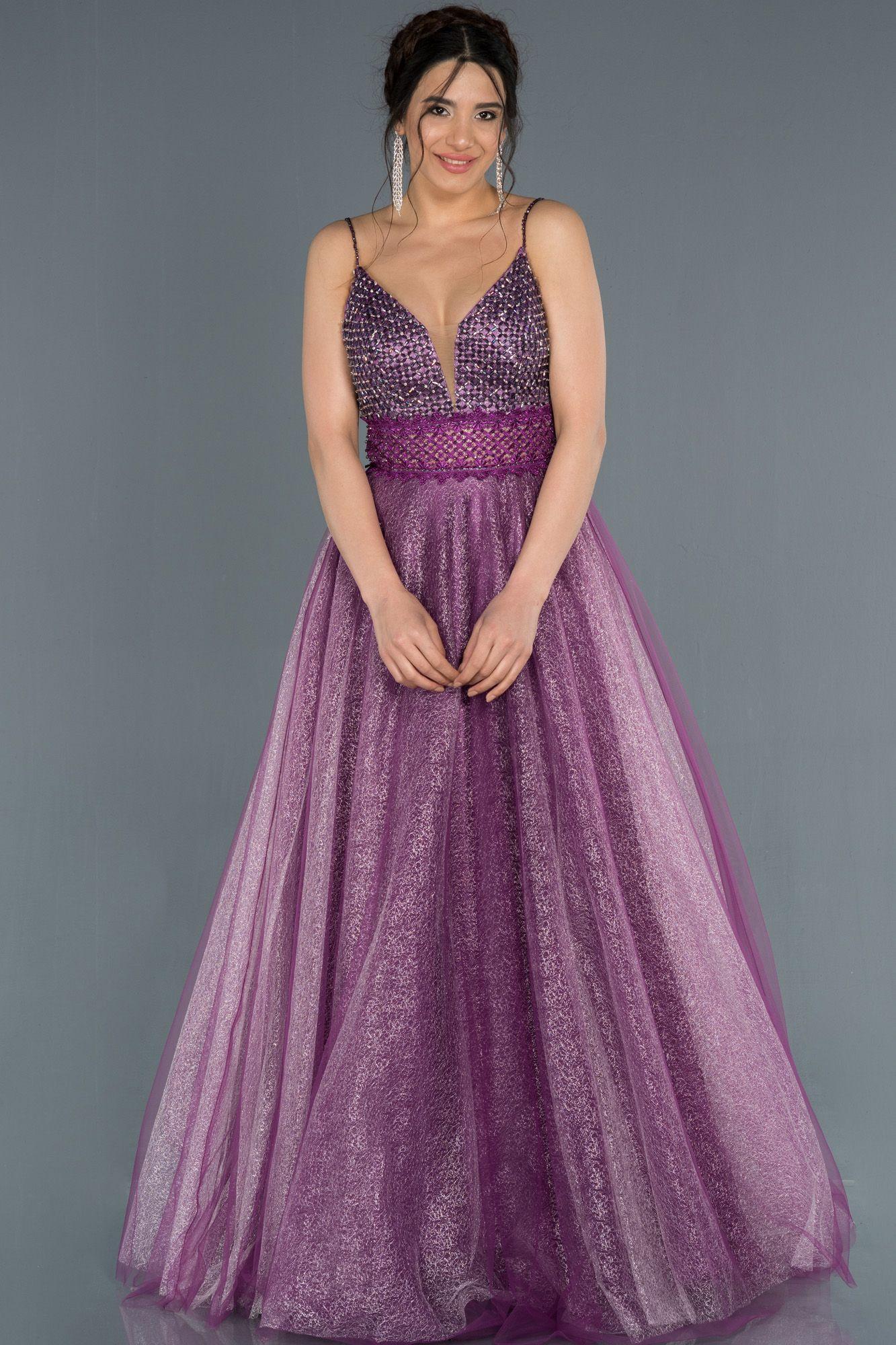 Mor Sirt Dekolteli Tas Islemeli Tul Abiye Elbise Abu1336 2020 Elbise Modelleri Aksamustu Giysileri Elbiseler