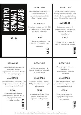 dieta low carb menu