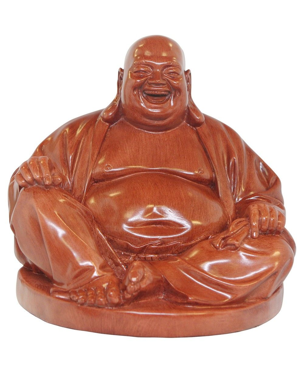 Happy buddha statue with wood finish made in vietnam available at happy buddha likeness is symbolic of joy mirth and contentment and it is said that rubbing the head or belly of a happy buddha statue brings good luck and biocorpaavc Choice Image
