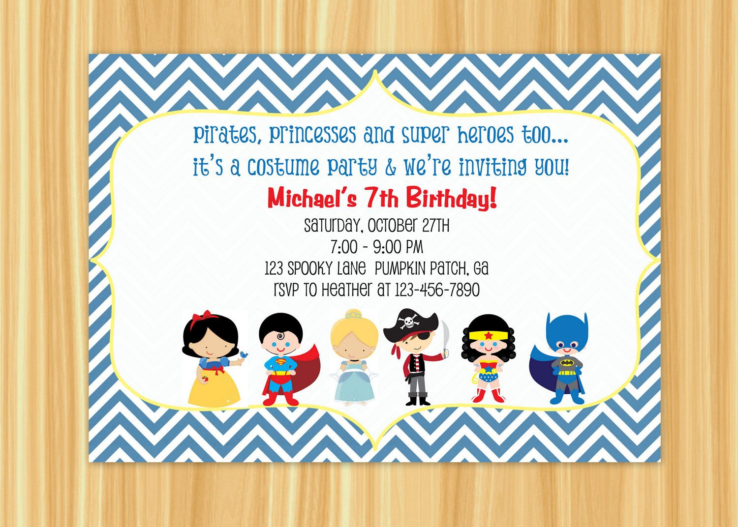 Kids Costume Party Birthday Invitation Blue or Orange Chevron ...