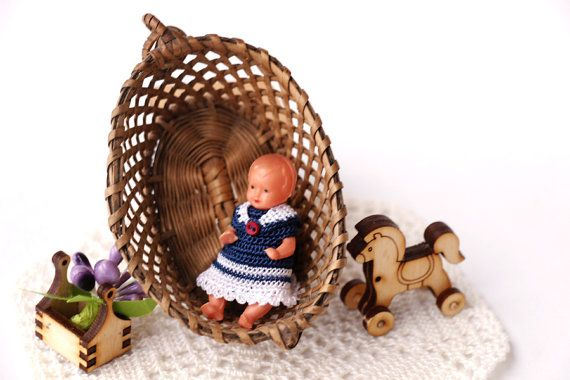 Mini crochet dress marine style  doll  2. Crochet by Creativhook