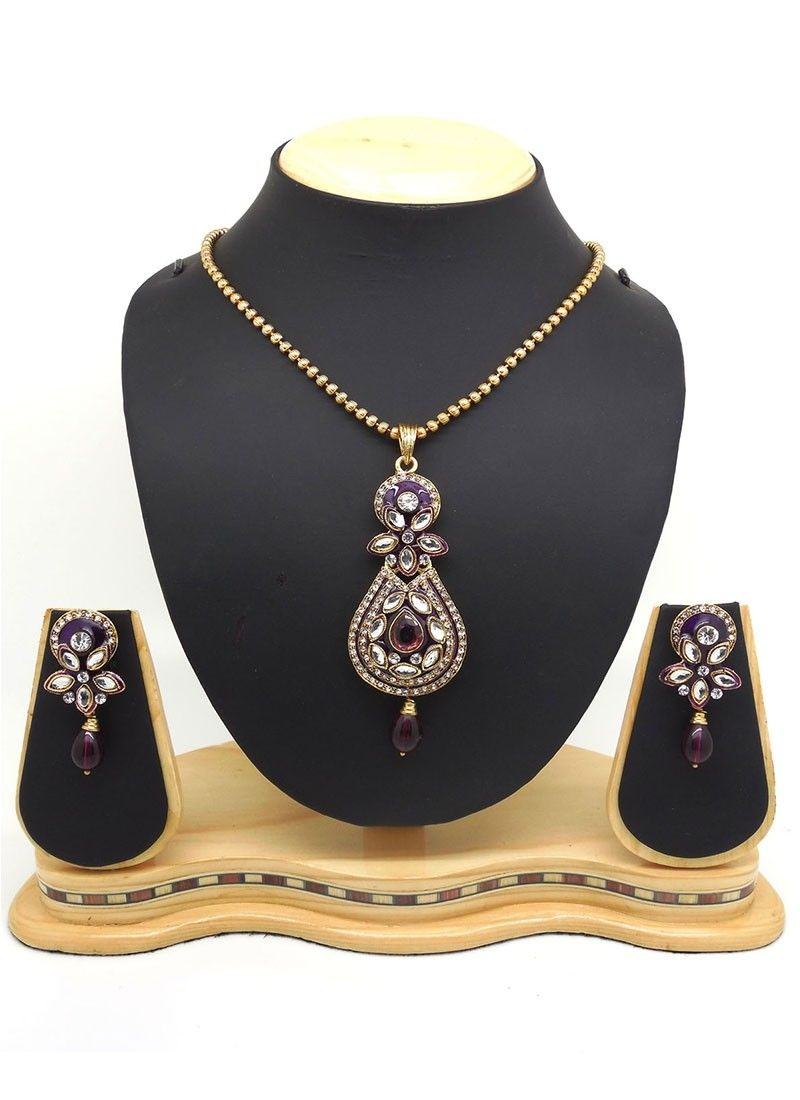 Shop online purple gold pendantset chennaistore jewels