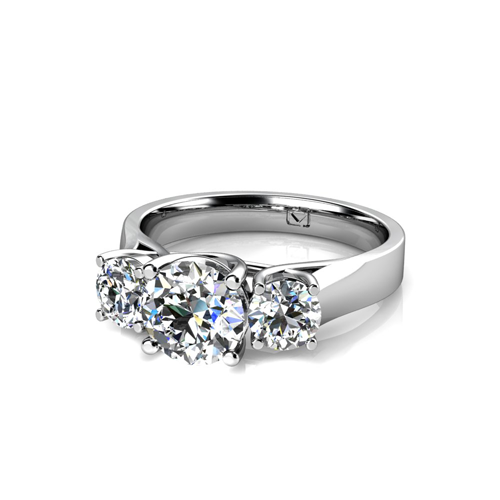 Three Stone X Prong Setting for Round Diamonds  5640201294