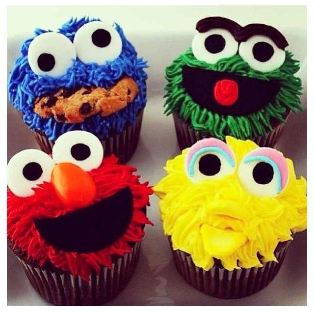 Sesame Street Cupcakes Party Sesamstra 223 E Pinterest