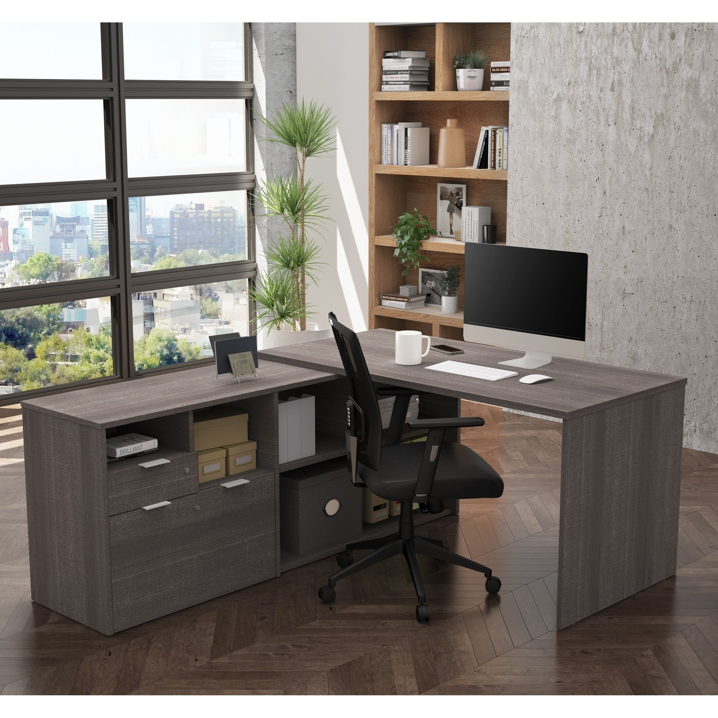 Bestar i plus ldesk with two drawers na bark grey in