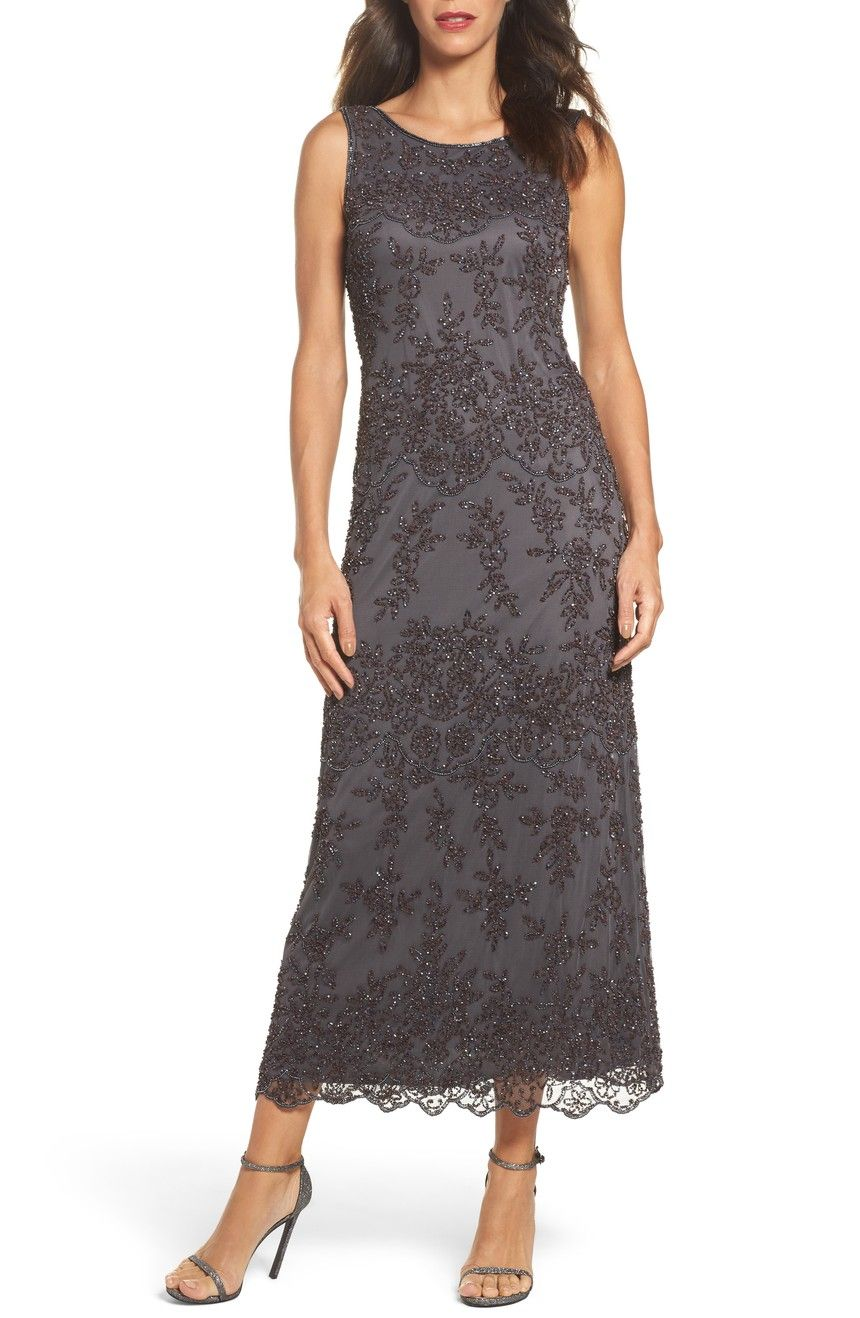 Dresses to wear to a wedding as a guest over 50  Embellished Mesh Gown  Petite Gowns and Mom dress